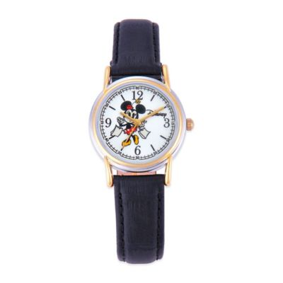 Disney Ladies' 27mm Cardiff Minnie Mouse Watch in Two-Tone Alloy with Black Leather Strap