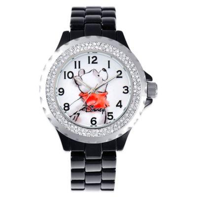 Disney® Ladies' 41mm Winnie the Pooh Enamel Watch in Black Alloy with Sparkling Bezel
