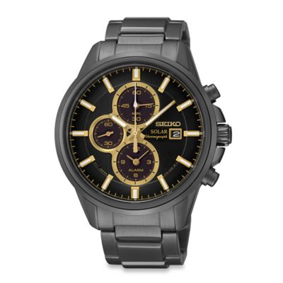 Seiko Men's Black Ion Finish Solar Alarm Chronograph Watch in Stainless Steel