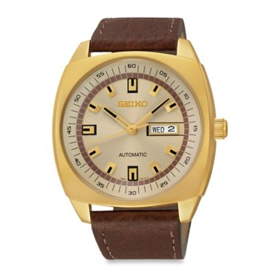 Seiko Men's 43.5mm Automatic Watch in Goldtone Stainless Steel with Brown Leather Strap