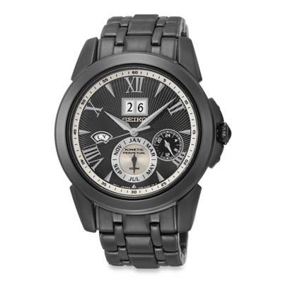 Seiko Men's Black Ion Kinetic Perpetual Watch in Stainless Steel