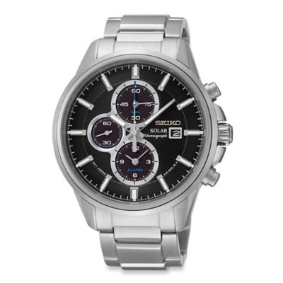 Seiko Men's 42mm Solar Alarm Chronograph Watch in Stainless Steel