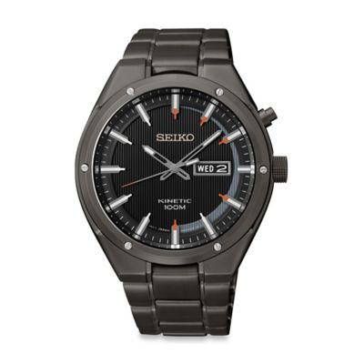 Seiko Men's 42mm Kinetic Watch in Black Ion-Finished Stainless Steel