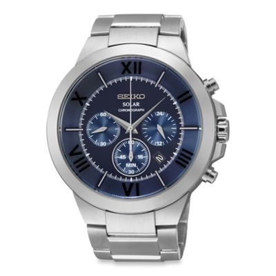 Seiko Men's 44.5mm Solar Chronograph Watch in Stainless Steel with Blue Dial