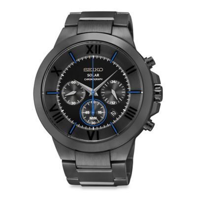 Seiko Men's 44.5mm Black Ion Solar Chronograph Watch in Stainless Steel with Black Dial