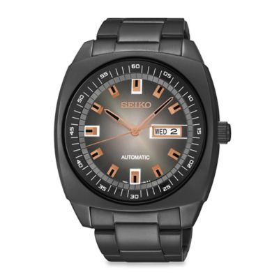 Seiko Men's 43.5mm Black Ion Finish Automatic Watch in Stainless Steel