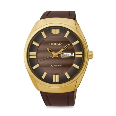 Seiko Men's 44mm Automatic Watch in Goldtone Stainless Steel with Brown Leather Strap