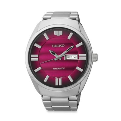Seiko Men's Recraft Series Automatic Watch in Stainless Steel with Red Dial