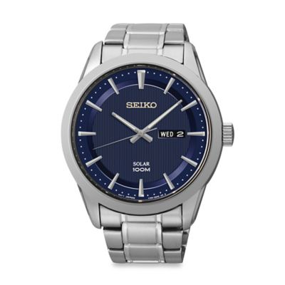 Seiko Men's Solar Watch in Stainless Steel with Blue Dial