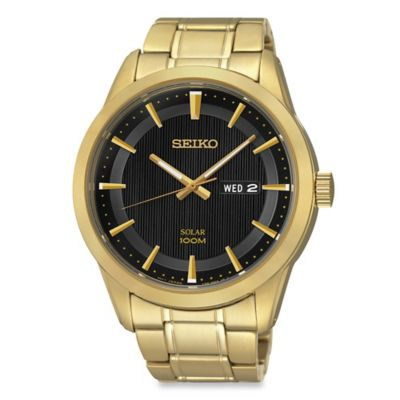Seiko Men's Solar Watch in Goldtone Stainless Steel with Black Dial