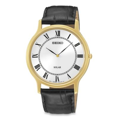 Seiko Men's Solar Watch in Goldtone Stainless Steel with Black Leather Wrist Strap