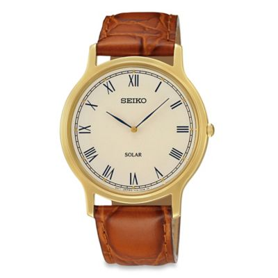 Seiko Men's Solar Watch in Goldtone Stainless Steel with Brown Leather Wrist Strap