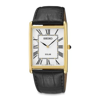 Seiko Men's Goldtone Square Solar Watch with Leather Wrist Strap
