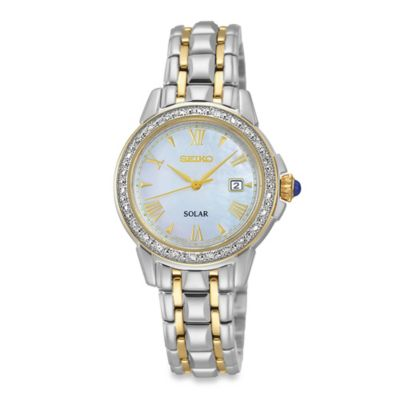Seiko Ladies' Two-Tone 26-Diamond Solar Watch in Stainless Steel