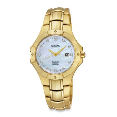 Seiko Solar Ladies' 29mm Coutura Watch in Goldtone Stainless Steel