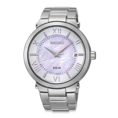 Seiko Ladies' Solar Recraft Watch in Stainless Steel with Mother of Pearl Lilac Dial