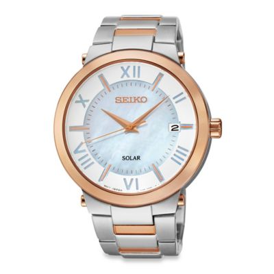 Seiko Ladies' Two-Tone Solar Recraft Watch in Stainless Steel with Mother of Pearl Dial