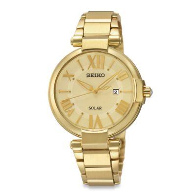 Seiko Ladies' 32.5mm Solar Watch in Goldtone Stainless Steel