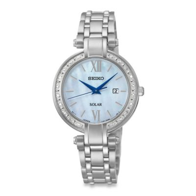 Seiko Ladies' Tressia Solar Watch in Stainless Steel with Mother of Pearl Dial
