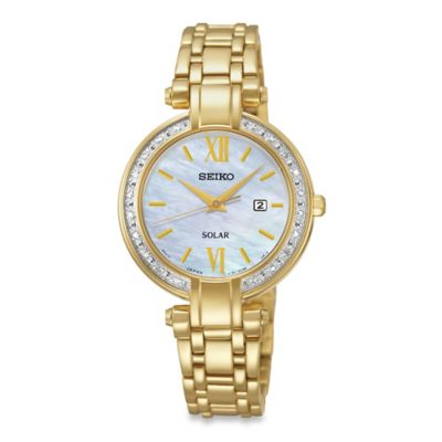 Seiko Ladies' Tressia Solar Watch in Goldtone Stainless Steel with Mother of Pearl Dial
