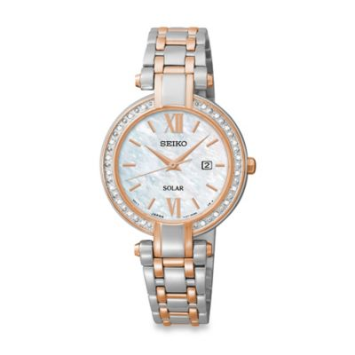Seiko Ladies' Two-Tone Tressia Solar Watch in Stainless Steel with Mother of Pearl Dial