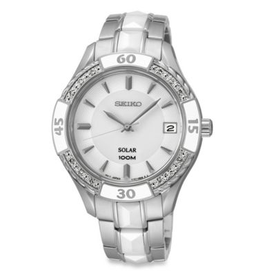 Seiko Ladies' 35.5mm Diamond-Accented Solar Watch in Stainless Steel