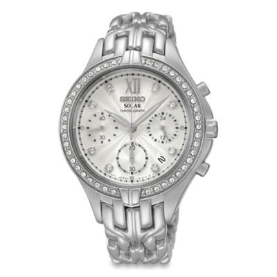Seiko Women's 35mm Swarovski® Solar Chronograph Watch in Stainless Steel