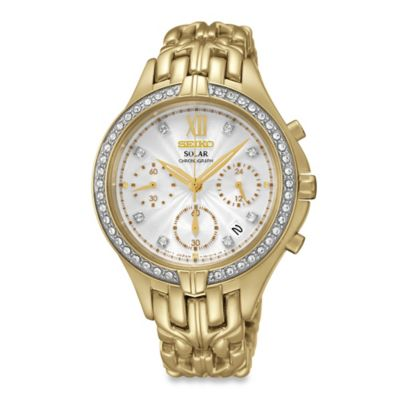 Seiko Ladies' 35mm Swarovski® Solar Chronograph Watch in Goldtone Stainless Steel