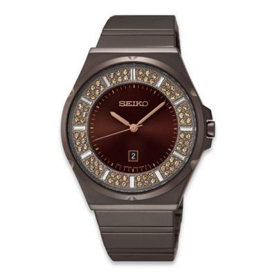 Seiko Ladies' Brown Ion Finish Core Quartz Watch in Stainless Steel with 84 Swarovski® Crystals