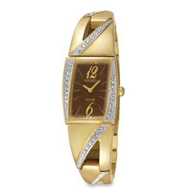 Seiko Solar Ladies' 18.5mm Swarovski® Crystal Slim Dress Watch in Goldtone Stainless Steel