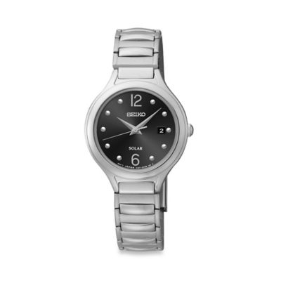 Seiko Ladies' Solar Core Watch in Stainless Steel with Black Dial