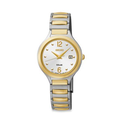 Seiko Ladies' 27.5mm Solar Watch in Two-Tone Stainless Steel