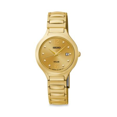 Seiko Ladies' Solar Watch in Goldtone Stainless Steel with Gold Dial