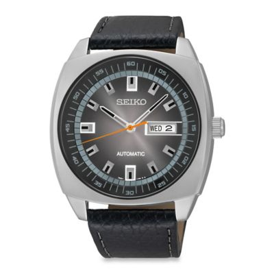 Seiko Recraft Men's 44mm Automatic Analog Display Watch in Stainless Steel with Black Leather Strap