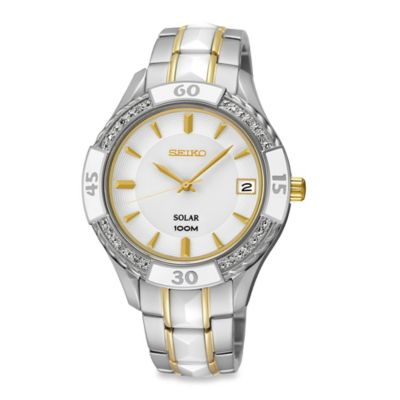 Seiko Ladies' 35.5mm Diamond-Accented Solar Watch in Two-Tone Stainless Steel