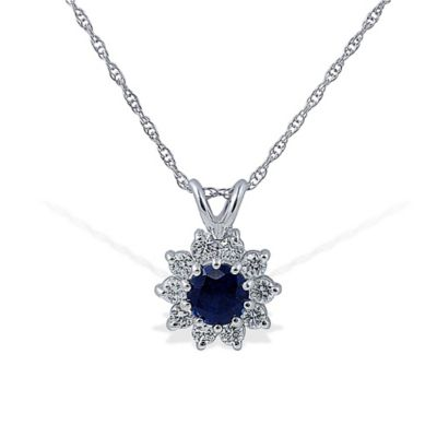 14K White Gold Blue Sapphire and .30 cttw Diamond 18-Inch Chain Pendant Necklace