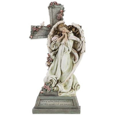 Joseph's Studio Memorial Angel with Cross Garden Statue