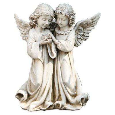 Joseph's Studio Double Angel with Bird Garden Statue