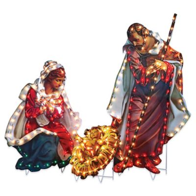 Fontanini Lighted 3-Piece Holy Family Yard Art