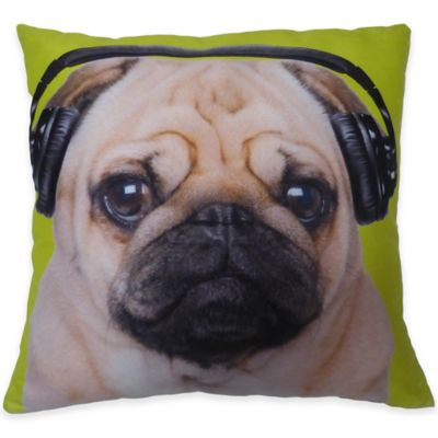 DJ Pug Throw Pillow in Lime