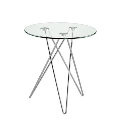 Eurostyle Zoey Round Side Table in Clear Glass/Chrome