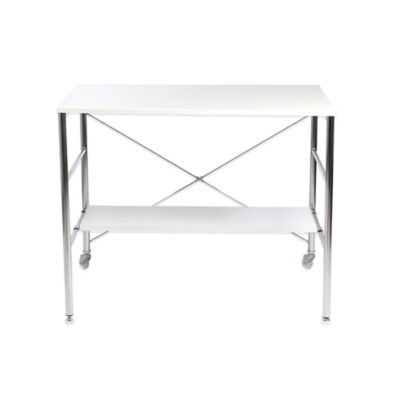 Eurostyle Ida Desk in White Gloss/Chrome