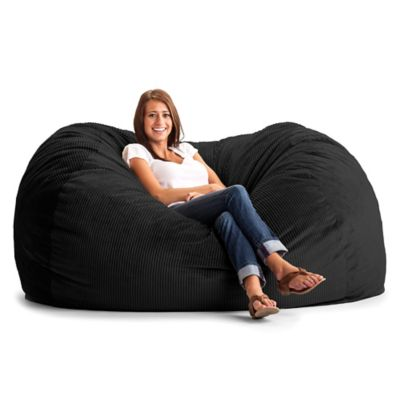 Comfort Research XL Wide Wale Corduroy Lounge Bean Bag Chair in Black