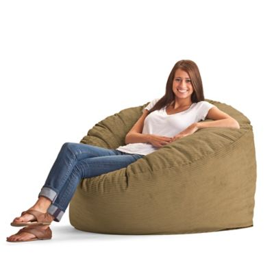 Comfort Research Large Wide Wale Corduroy Fuf Bean Bag Chair in Coffee