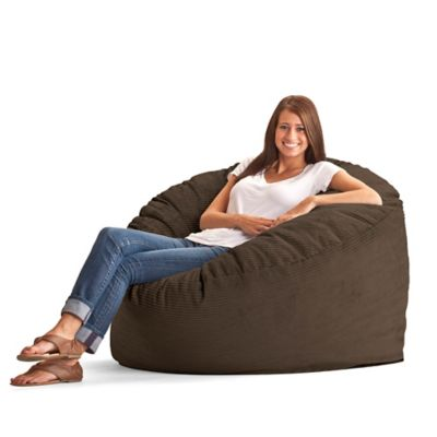 Comfort Research Large Wide Wale Corduroy Fuf Bean Bag Chair in Chocolate