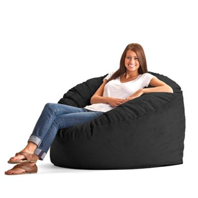 Comfort Research Large Wide Wale Corduroy Fuf Bean Bag Chair in Black