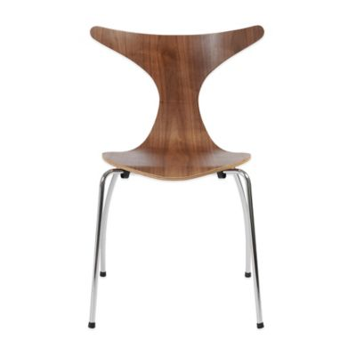 Eurostyle Frida Stacking Chair in Walnut (Set of 4)