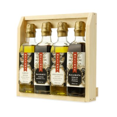 Melina's 4-Pack Assortment of Extra Virgin Olive Oils and Premium Vinegars