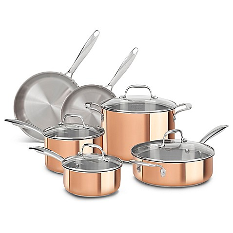 Kitchenaid tri ply copper clad 10 piece cookware set bed bath beyond - Kitchen aid pan set ...