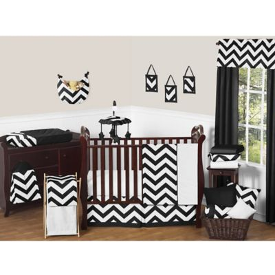 Sweet Jojo Designs Chevron 11-Piece Crib Bedding Set in Black and White